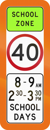 lurid: Australian school warning sign with speed limit. Stock Photo