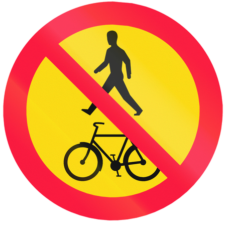 mopeds: Road sign 324 in Finland - No pedestrians, cyclists or mopeds