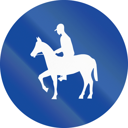 bridle: Greek traffic sign for a bridle way. Stock Photo