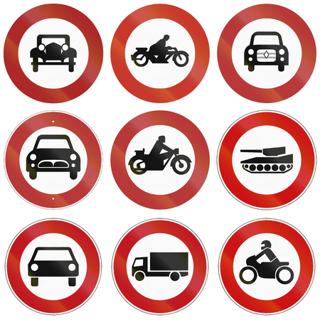 thoroughfare: Collection of historic and modern (bottom) signs prohibiting thoroughfare for different vehicles in Germany. Stock Photo