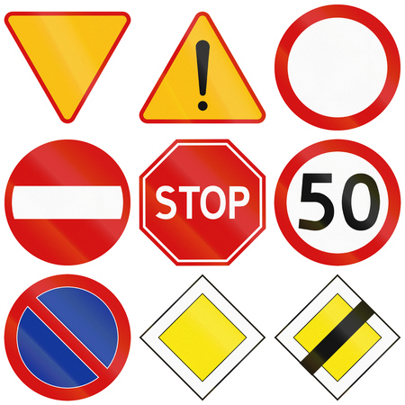 warning signs: Collection of the most common traffic signs in Poland, including yield, stop, general dangers, no entry, and priority. Stock Photo