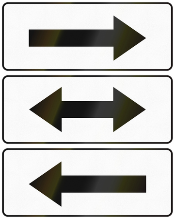 right handed: Polish arrow signs used as additional panels in traffic signs.