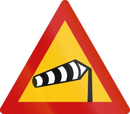 saturated color: Road sign in Greece - Dangerous crosswinds