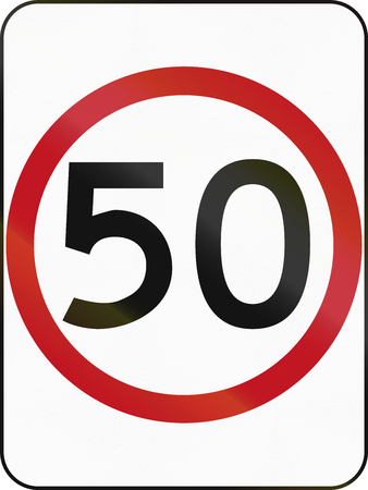 restricting: Australian traffic sign restricting speed to 50 kilometers per hour. Stock Photo