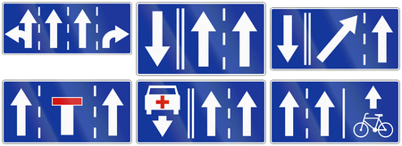 red handed: Collection of Polish traffic signs giving information about lane usage.