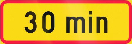 span: Finnish additional road sign - For the time span of 30 minutes Stock Photo