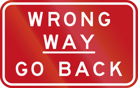 Australian signe de la circulation: Wrong Way - Retour