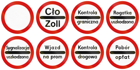 customs official: Collection of Polish traffic signs including no thoroughfare and various stop signs for toll collection, police control, etc.
