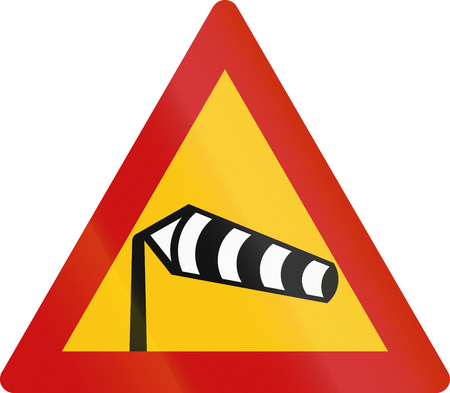 red handed: Road sign in Greece - Dangerous crosswinds