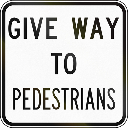 give way: An Australian road sign: Give way to pedestrians Stock Photo