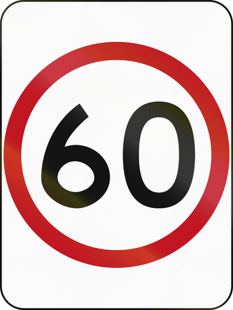 restricting: Australian traffic sign restricting speed to 60 kilometers per hour.