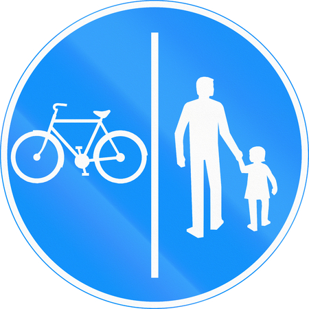 segregated: Road sign 424 in Finland - Segregated pedestrian and cycle path
