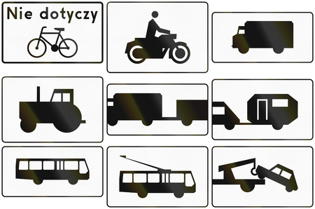 exempt: Collection of Polish traffic sign additional panels with various vehicles. The first sign means: Cycles exempt.