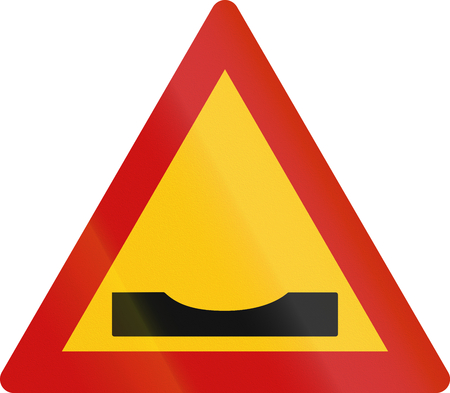pot hole: Warning road sign in Greece: Road dip Stock Photo