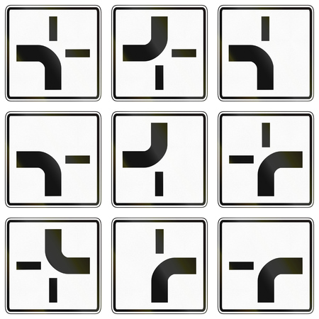 configurations: Collection of German supplementary road signs regarding road configurations at an intersection.
