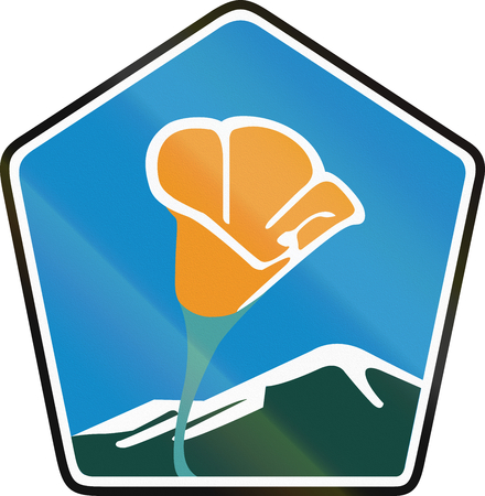 byway: Scenic byway shield in California, USA, showing the state flower California poppy (Eschscholzia californica) - badge variant.