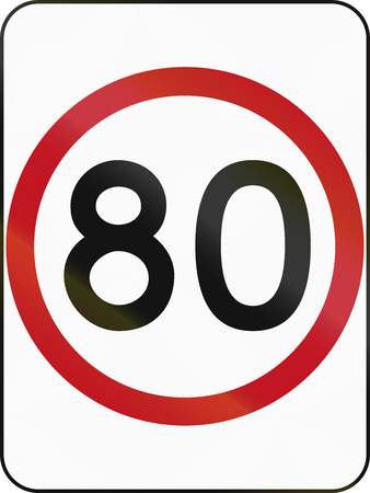 restricting: Australian traffic sign restricting speed to 80 kilometers per hour.