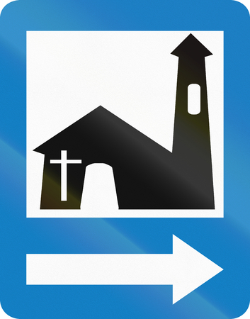 right handed: Colombian traffic sign: Church services on the right Stock Photo
