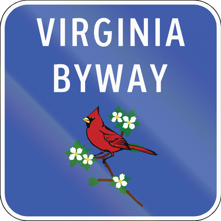 byway: Scenic byway shield in Virginia, USA, showing the state bird, the Cardinal (Cardinalis cardinalis). Stock Photo