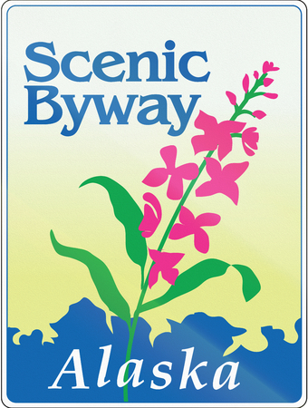 alaska scenic: Scenic byway shield in Alaska, USA, showing a flower.