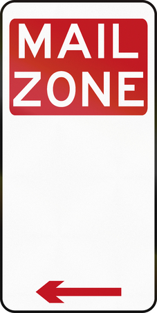 red handed: Australian special parking zone regulation sign: Mail Zone Stock Photo