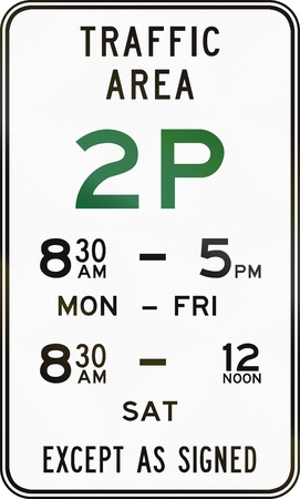 restriction: Australian road sign: Parking with time restriction - 2 Hours Stock Photo