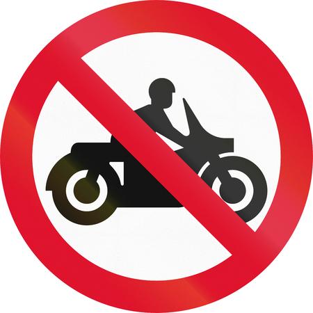 thoroughfare: Hong Kong sign prohibiting thoroughfare for motorcycles.