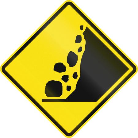 handed: Australian warning traffic sign - Falling Rocks from the right.