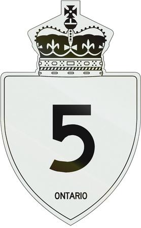 number 5: Canadian highway shield of Ontario highway number 5.