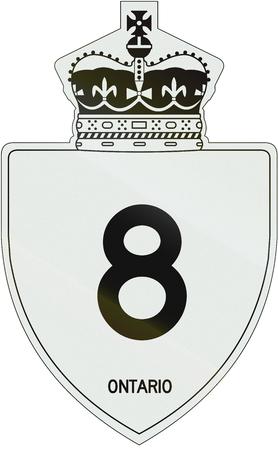 number 8: Canadian highway shield of Ontario highway number 8.