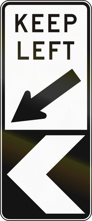 handed: Australian chevron alignment with additional text: keep left.