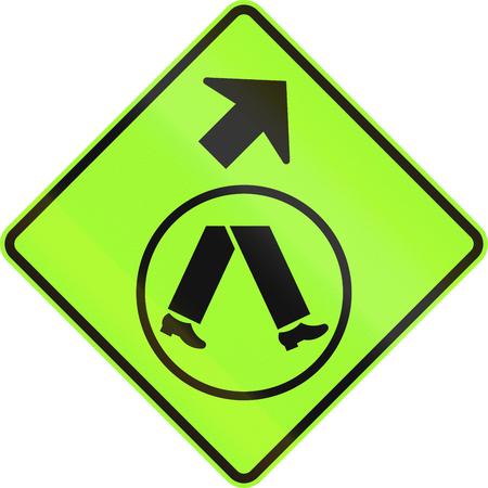 veer: An Australian warning traffic sign - Pedestrian Crossing Ahead on Side Road, veer right Stock Photo