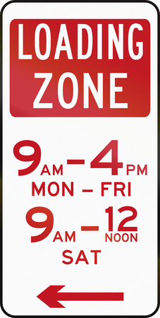 red handed: Australian special parking zone regulation sign: Loading zone Stock Photo
