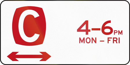 red handed: Australian regulatory sign: Clearway in both directions at times shown. Stock Photo