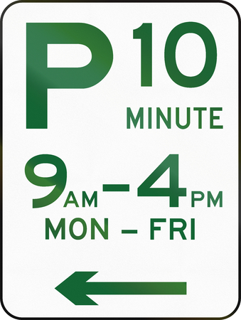 handed: Australian road sign: Parking with time restriction - 10 Minutes