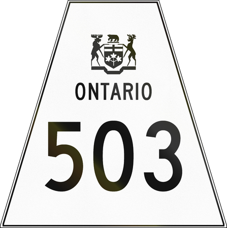 trapezoid: Canadian highway shield of Ontario highway number 503. Stock Photo