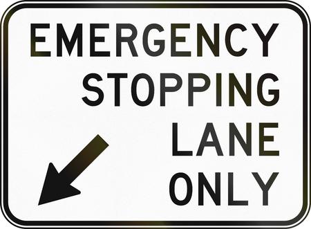 emergency lane: Australian regulatory sign: Emergency stopping lane only Stock Photo