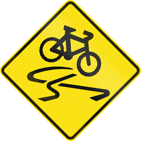 skidmarks: Australian road warning sign - Slip danger for cyclists