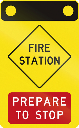 no fires: An Australian warning traffic sign - Fire Station - Prepare to stop