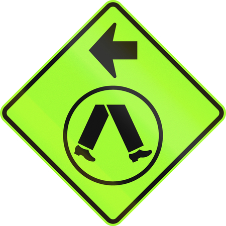 turn left: An Australian warning traffic sign - Pedestrian Crossing Ahead on Side Road, turn left