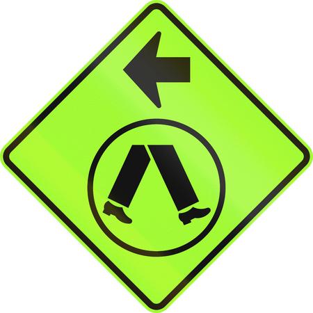 handed: An Australian warning traffic sign - Pedestrian Crossing Ahead on Side Road, turn left