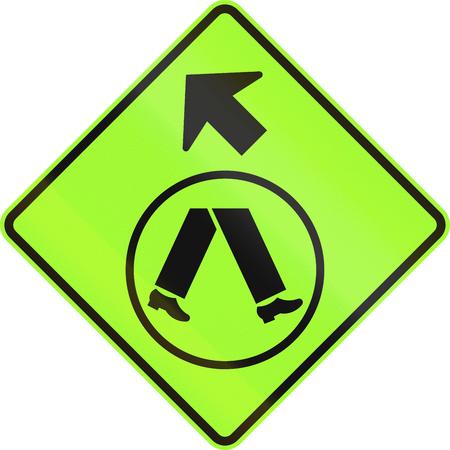 side of the road: An Australian warning traffic sign - Pedestrian Crossing Ahead on Side Road, veer left Stock Photo