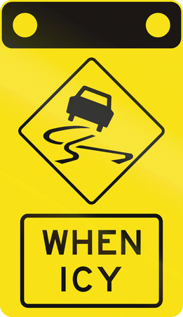 skidmarks: An Australian warning traffic sign - Slip danger when icy
