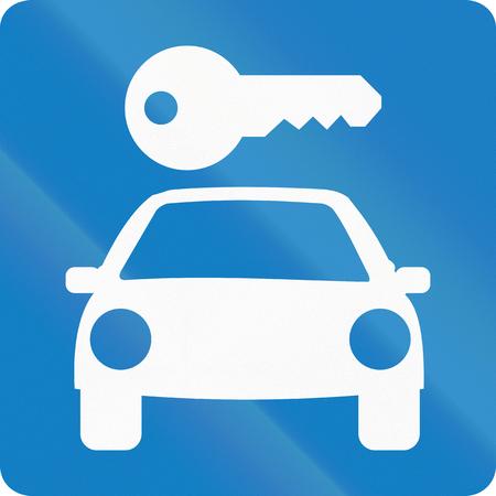 car rental: Informative road sign in Colombia: Car rental