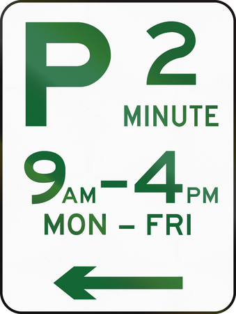 restriction: Australian road sign: Parking with time restriction - 2 Minutes Stock Photo