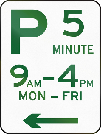 restriction: Australian road sign: Parking with time restriction - 5 Minutes
