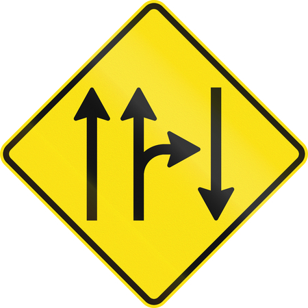 opposing: Warning road sign in Australia - Opposing traffic with right turn from right lane