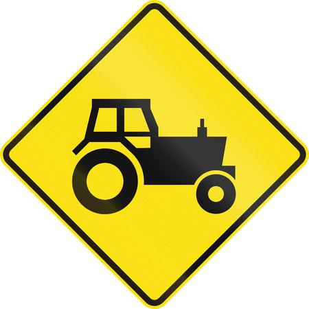 tractor warning sign: Australian road warning sign - Tractorfarm vehicle crossing