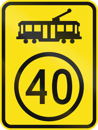 An Australian warning traffic sign - Tram speed