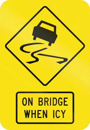 skidmarks: An Australian warning traffic sign - Slip danger on bridge when icy